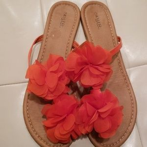 Skyler of New York Shoes - Orange Skyler sandals with chiffon flowers